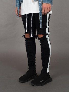 Pantalon Homme en Coton Denim Genou Troué Colorblock