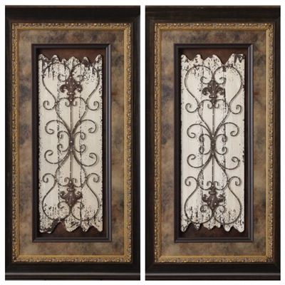 Visser Set Of 2 Scroll Metal On Wood Framed Pictures 27 X 48 Wood Picture Frames Medallion Wall Art Medallion Wall Decor