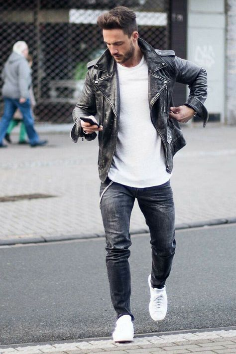 How To Wear Leather Jacket Men Winter 50 Ideas