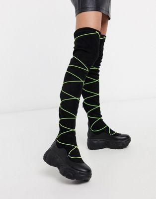 Koi Footwear Cyber Fox Czarne Weganskie Buty Nad Kolano Z Fluorescencyjnymi Sznurowadlami Boots Over The Knee Boots Over The Knee