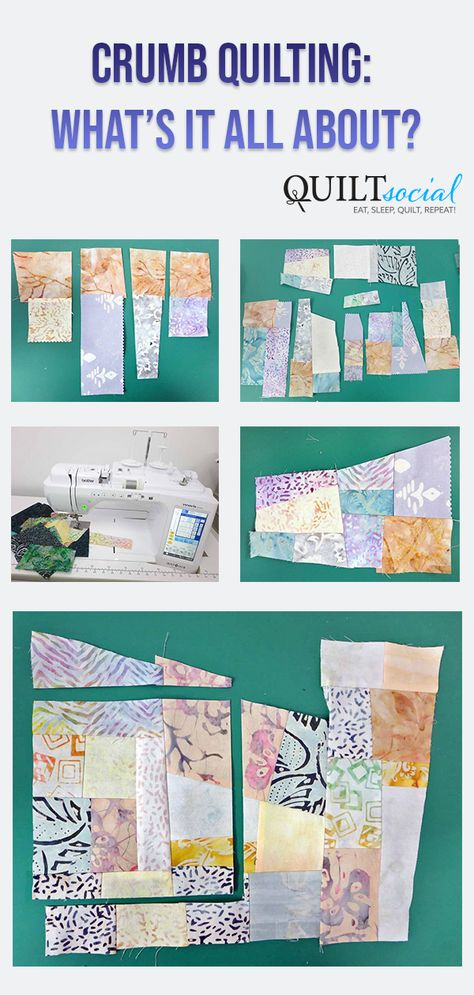 It's made using small fabric scraps of all sizes and shapes to make new fabric for quilting. See how it's done and what it looks like. Brother Innov-is Free Pattern. sew einfach clothes crafts for beginners ideas projects room Scrap Quilt Patterns, Patchwork Quilting, Scrappy Quilts, Quilting Tips, Quilting Tutorials, Quilting Projects, Quilting Designs, Patchwork Ideas, Quilting Patterns Free