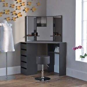Black Corner Dressing Table Large Vanity Unit Modern Dresser