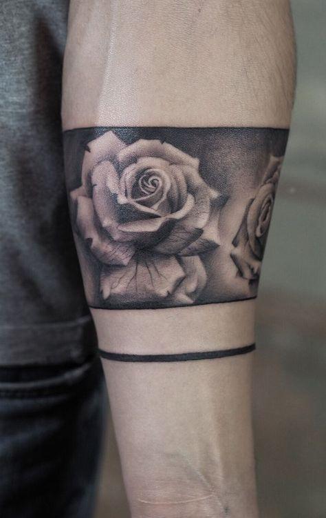 Awesome Rose Band Tattoo C Tattoo Artist Jefree Rose Tattoos For Men Forearm Band Tattoos Rose Tattoo Design