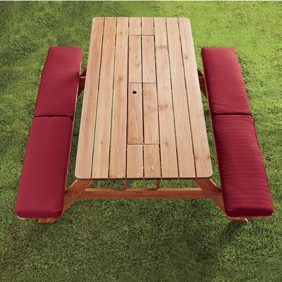 Picnic Table Bench Cushion From Country Door Picnic Table Bench Bench Table Outdoor Cushions And Pillows
