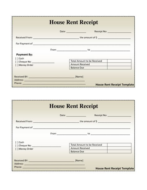 House Rental Invoice Template in Excel Format House Rental - blank receipt