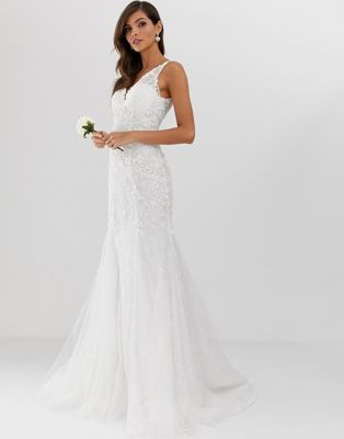 Edition Embroidered Mesh Over Lace Fishtail Wedding Dress In