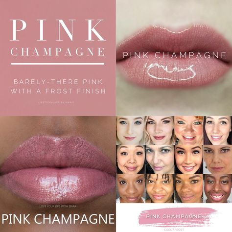 Pink Champagne LipSense is lip color that lasts 4-18 hours. It won't smudge, budge, feather, or kiss-off! #lipcolors