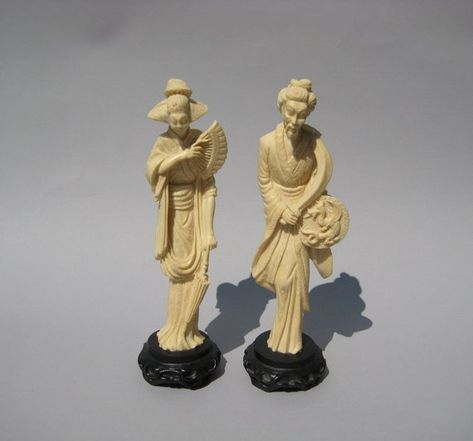 China Figurines Statues Chinese Handmade Resin Imitation Bone Carving Ancient Figure Statue Antiques Asian Antiques