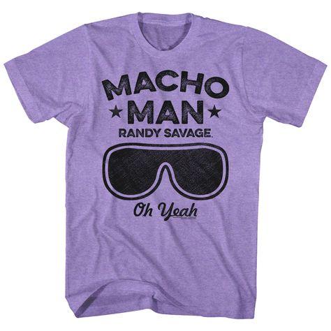 Details about Macho Man Randy Savage Oh Yeah Men's T Shirt Sunglasses Wrestler Hero Purple WWE