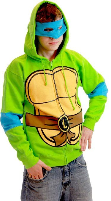 960fa05168e Amazon.com  Teenage Mutant Ninja Turtles Costume Adult Hooded Sweatshirt  with Detachable Eye Mask  Clothing