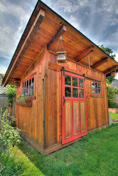 The Perfect Garden Shed   Sliding Barn Door, Windows, Cedar Shake Shingles  And Of Course, Flower/herb Boxes