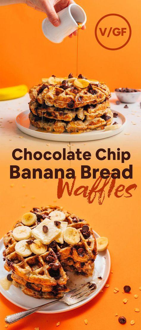 Chocolate Chip Banana Bread Waffles #minimalistbaker #glutenfree #dairyfree #plantbased #waffles #recipes #NutritionAndHowToBeHealthy