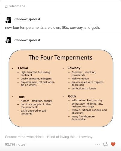 A Meme Found On Social Media Platform Tumblr With Cowboy As One Of The Four Millennial Temperaments A Reference To This Or That Questions Humor The Dreamers