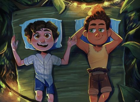 """Asia!'s Instagram post: """"I wanted to do a scene redraw of the one part where they were in Giulia's hideout :)!! I loved the lighting in the scene!   #luca…"""""""
