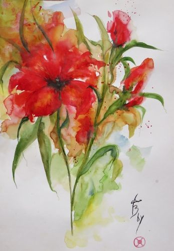 Aquarelle Abby Fleurs Coquelicots Rouge Lys Watercolor Paintings