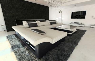Unique Sofa Dreams Stoff Couch MONZA L Form mit LED Beleuchtung Jetzt bestellen unter https