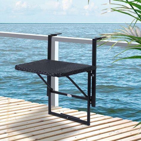 Outsunny Tablette De Balcon Rabattable En Resine Tressee Noire