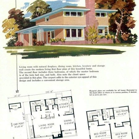 130 Vintage 50s House Plans Used To Build Millions Of Mid Century Homes We Still Live In Today Mid Century House House Plans Vintage House Plans