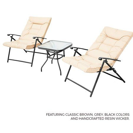 Admirable Suncrown Patio Padded Folding 3 Pieces Chair Set Adjustable Ncnpc Chair Design For Home Ncnpcorg