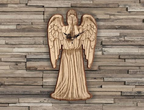 Handmade #WeepingAngels wooden clock - Doctor Who wallclock. Original and unique gift for friends. Worldwide Shipping. Available in:  www.geeksmarvels.etsy.com .  #fanart #Giftforhim #BirthdayGifts #decoration