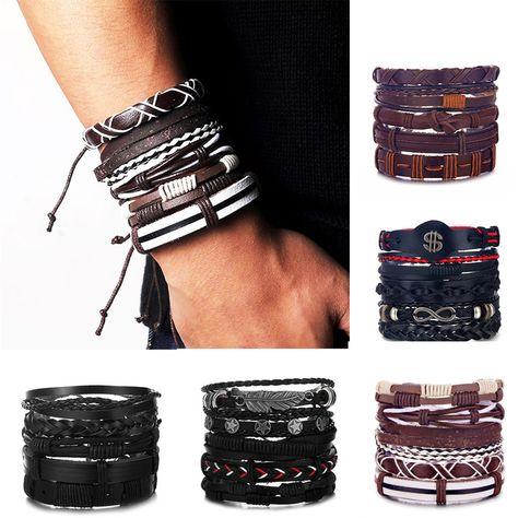 17IF Vintage Leaf Feather Multilayer Leather Bracelet Men Fashion Braided Handmade Star Rope Wrap Bracelets