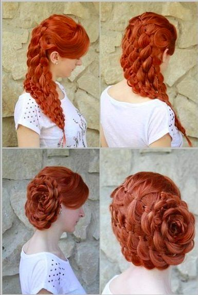 How to, tutorial for long hair. Floral style, great for weddings and special occasions. Updo hair style.