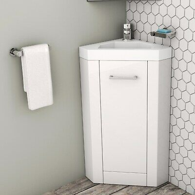 400mm Corner Vanity Unit With Basin Single Door White Apollo Beba 25570 Corner Vanity Unit Vanity Units Corner Vanity