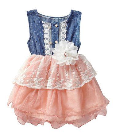 Look at this #zulilyfind! Pink  Denim Lace Eyelet Tutu Dress - Infant, Toddler  Girls #zulilyfinds