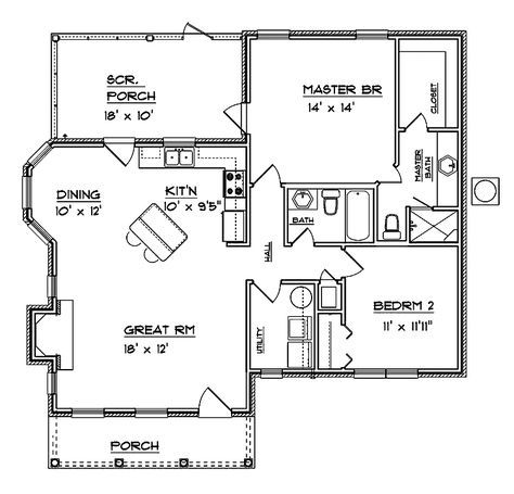 Colonial Style House Plan 2 Beds 2 Baths 1094 Sq Ft Plan 14 243 Small House Plans Tiny House Floor Plans Small House Floor Plans