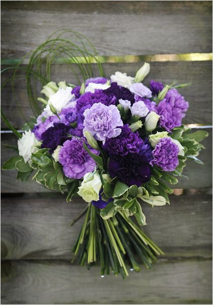 Examples Of Violets Purples Available Low No Allergy Specialty Carnations Bouquet Photo Gallery Flo Carnation Wedding Bouquet Purple Bouquets Ceremony Flowers
