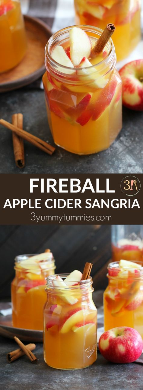 This Fireball Apple Cider Sangria is the perfect fall party cocktail. Fresh apples and cinnamon sticks add to this flavorful cocktail with apple cider, Pinot Grigio, Fireball Cinnamon Whisky and a splash of ginger ale. Apple Cider Cocktail, Spiced Apple Cider, Homemade Apple Cider, Sangria Cocktail, Cocktail Sauce, Cocktail Attire, Cocktail Shaker, Cocktail Dresses, Ginger Ale Cocktail