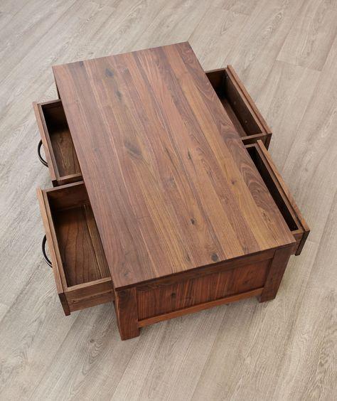 Dark Wood Coffee Table With Drawers Mayan From Big Blu