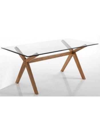 Limbo 180x90 Tavolo Base In Legno Massello E Piano In Vetro Cristallo Design Casa Soggiorno Negozi Uffici Tavolo Legno Massello Di Rovere