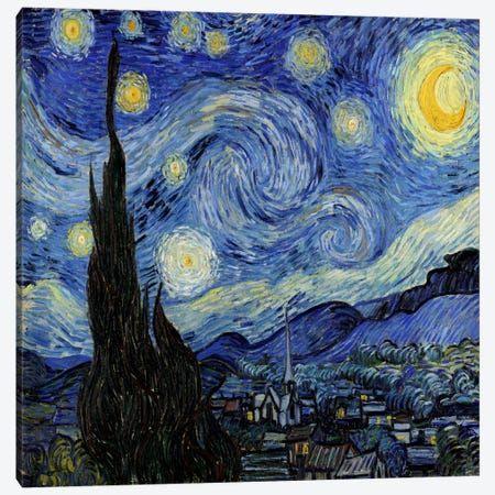 The Starry Night Canvas Art By Vincent Van Gogh Icanvas In 2021 Starry Night Van Gogh Paintings Famous Van Gogh Art