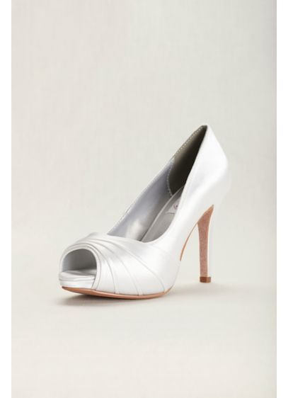 Bea Satin Dyeable High Heel Peep Toe Pump Style BEA, White