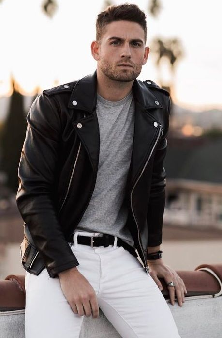 Street Style White Denim Look With Black Leather Jacket And Grey Tshirt Denim Outfit Men Mens Fashion White Mens Fashion Smart