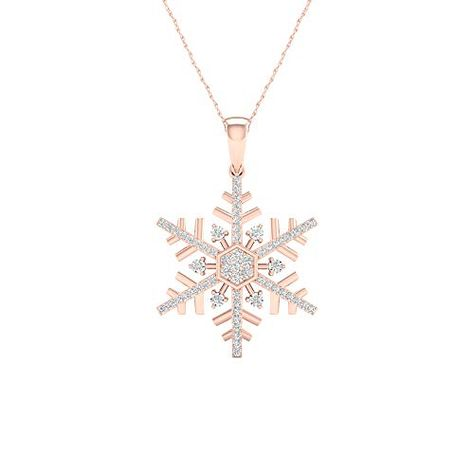 411 89 0 15 Carat 10kt Gold Round Diamond Snowflake Pendant Necklace H I Color I2 Clarity Elegantly Crafted In Highes Snowflake Pendant 10kt Gold Necklace