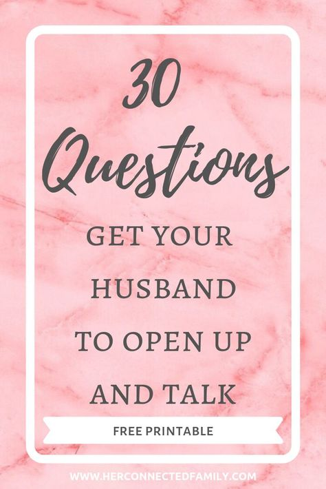 30 Questions To Encourage Your Husband To Open Up 30 conversation starters to get to know your husband better and encourage him to open up and talk to you more often! Marriage Help, Healthy Marriage, Marriage Relationship, Happy Marriage, Love And Marriage, Healthy Relationships, Marriage Quotes Struggling, Communication Relationship, Relationship Questions