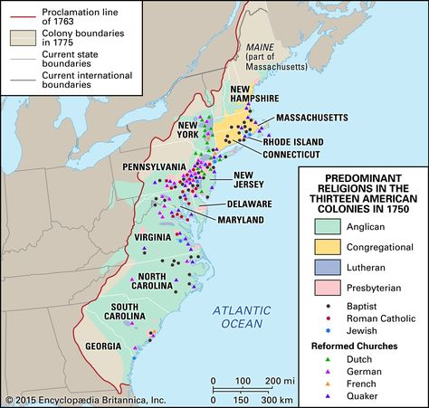 Religion map of the 13 colonies in 1750 | History&Maps | Map, 13 ...