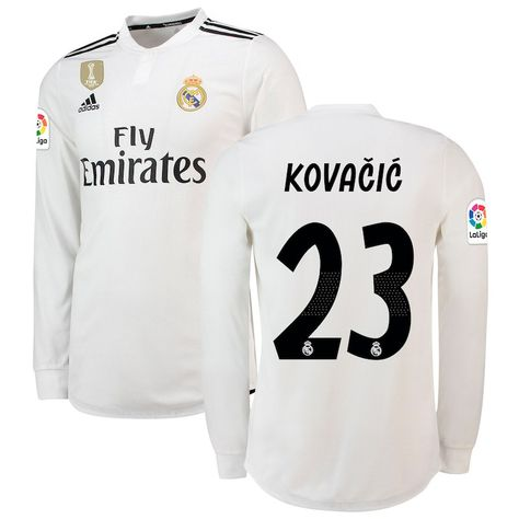 0a27c8648 Mateo Kovacic Real Madrid adidas 2018 19 Home Authentic Long Sleeve Player  Jersey – White
