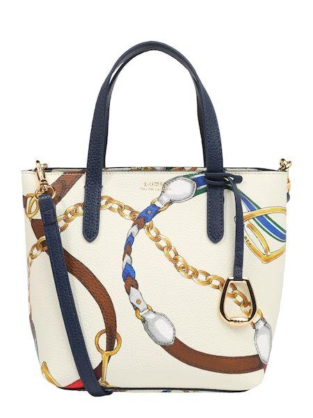 Lauren Ralph Lauren Handtasche Mini Tote Navy Mischfarben Weiss Handtasche Damentasche Bags Handbags Taschen Henkeltasche Handtaschen