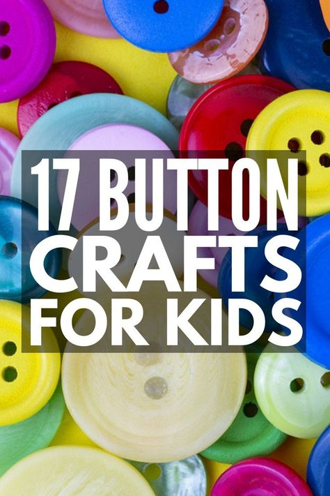 17 Button Crafts for Kids | Perfect for children of all ages  from toddlers to school-aged kids  this collection of easy DIY art projects is sure to keep your little ones busy. With so many ideas to choose from like jewelry magnets keychains frames and bowls you can display with pride around your home these creative ideas make the perfect gifts kids can make. They also make fun activities you can enjoy in the classroom! #buttoncraftsforkids #buttonactivities #kidscrafts #upcycledcrafts #upcycled