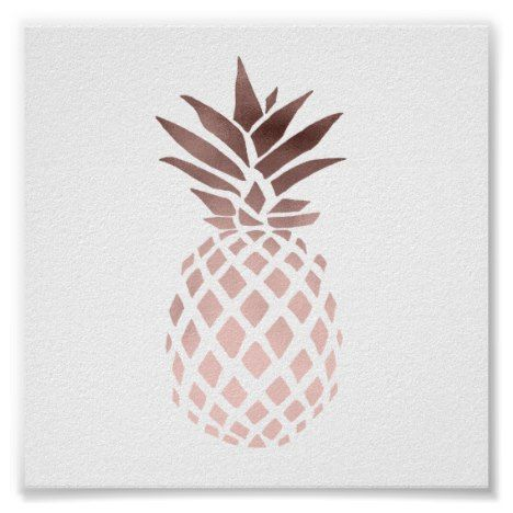 Elegant Clear Faux Rose Gold Tropical Pineapple Poster Zazzle Com Gold Pineapple Wallpaper Pineapple Wallpaper Gold Poster