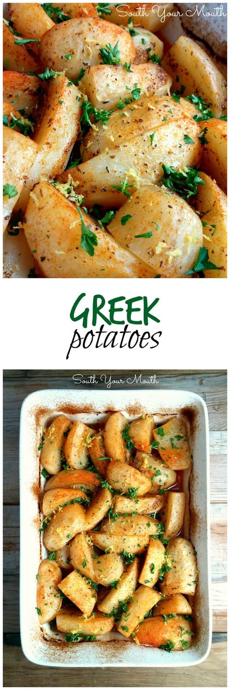Greek Potatoes! Baked with olive oil, butter, garlic and lemon until tender and golden. What a great potato side dish recipe.