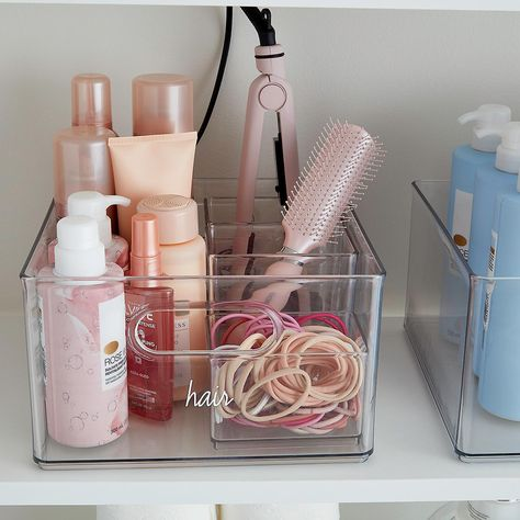 The Home Edit All-Purpose Bin can be the secret to effortless organization. The Home Edit All-Purpose Bin can be the secret to effortless organization. Perfectly stackable to Bathroom Organisation, Makeup Organization, Bathroom Storage, Kitchen Storage, Hair Product Organization, Kitchen Pantry, Clutter Organization, Teen Room Organization, Bathroom Ideas
