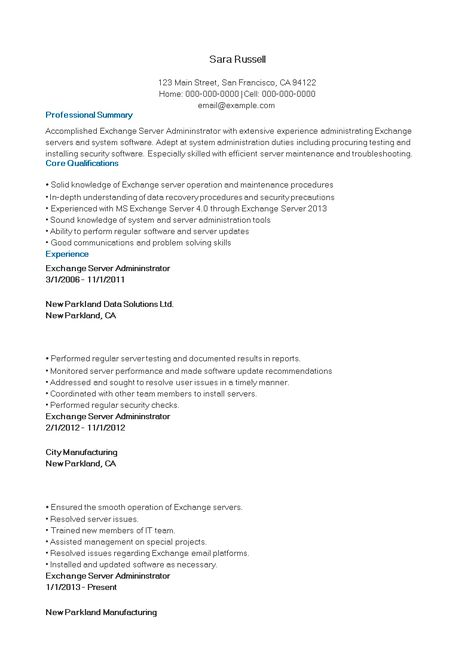 Exchange Server Manager Resume How To Create An Exchange Server