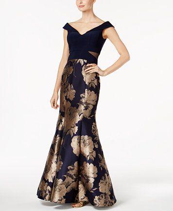 Xscape Printed Mermaid Gown Macys Com Formal Dresses For Women Mermaid Evening Dresses Dresses