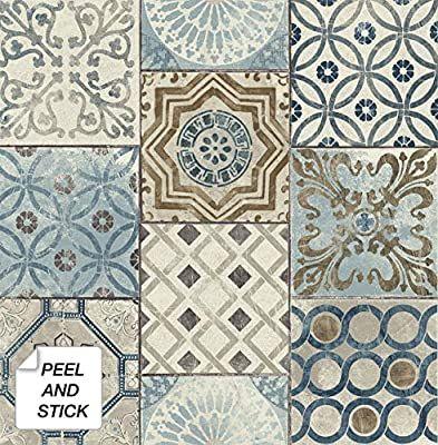 Nextwall Moroccan Style Peel And Stick Mosaic Tile Wallpaper Blue Copper Grey Amazon Com Peel And Stick Wallpaper Copper And Grey Removable Wallpaper