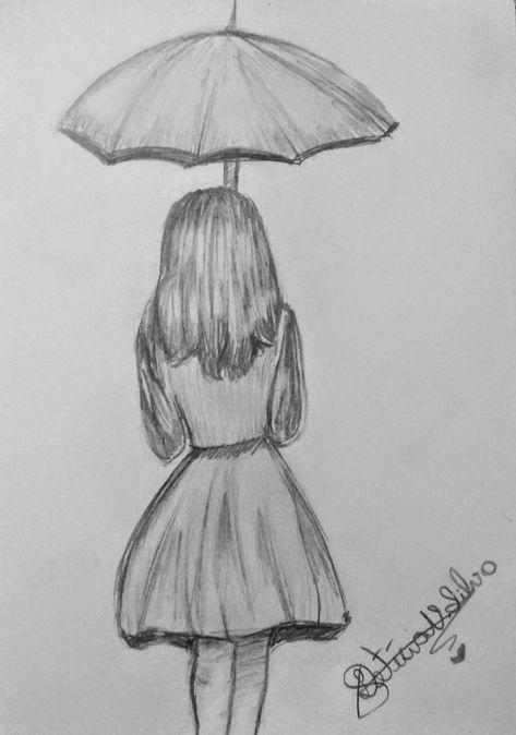 Hermoso boceto de chica con sombrilla