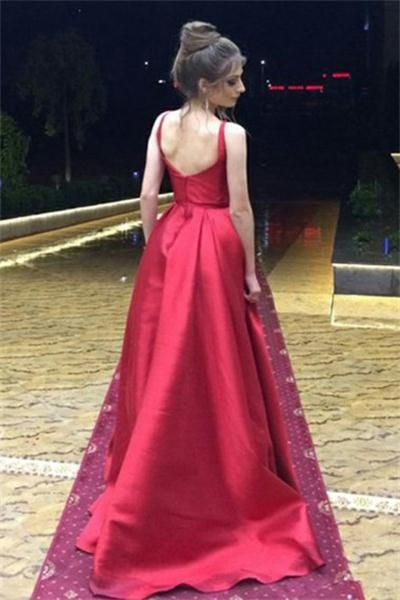 20c900ad798 Sparkly Red A-line Open Back Long Simple Cheap Evening Dresses Prom Dresses  Z0734